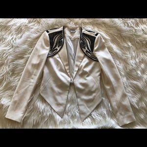 Bebe beaded embellished white black blazer